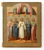 Russian Icon of Five Saints