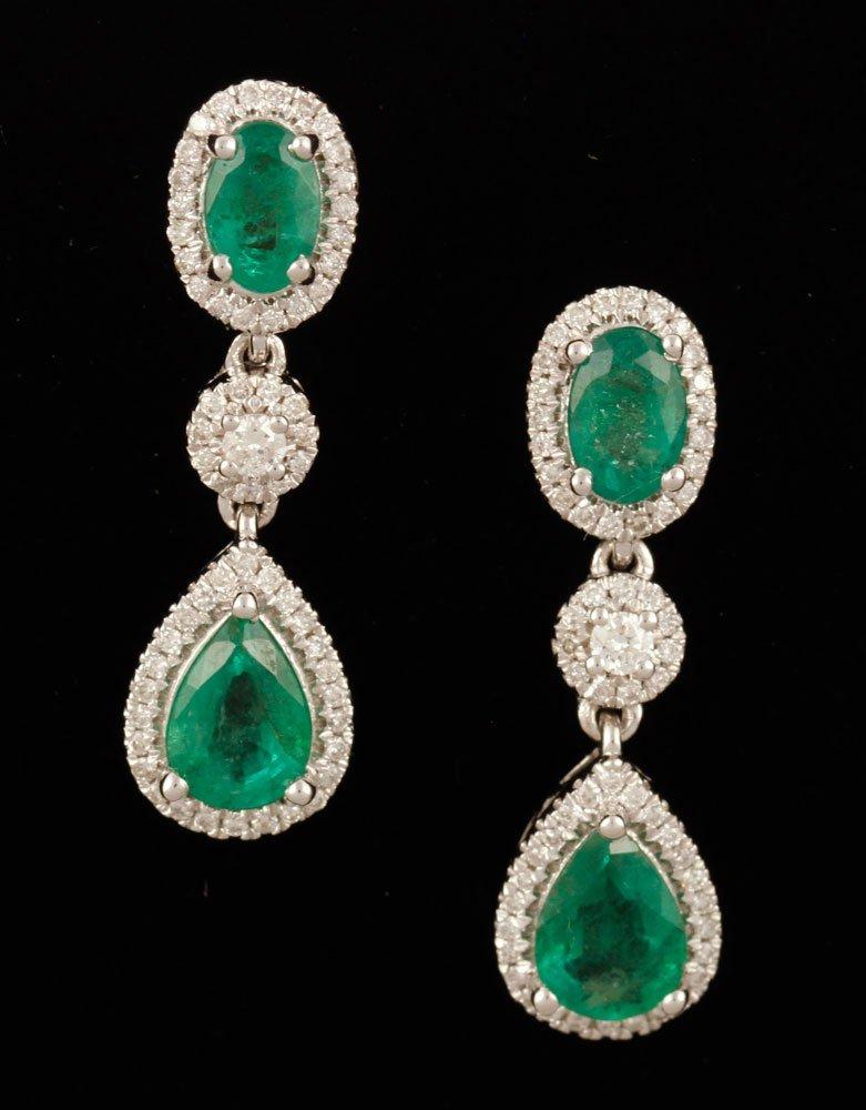 Pr. 18K White Gold, Diamond and Emerald Earrings