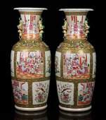 Pr. 19th C. Chinese Rose Medallion Vases