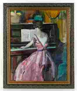 """Peterson, """"Woman at the Piano,"""" Oil on Canvas"""