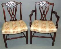 1008 8 19TH C CHIPPENDALESTYLE MAHOGANY CHAIRS