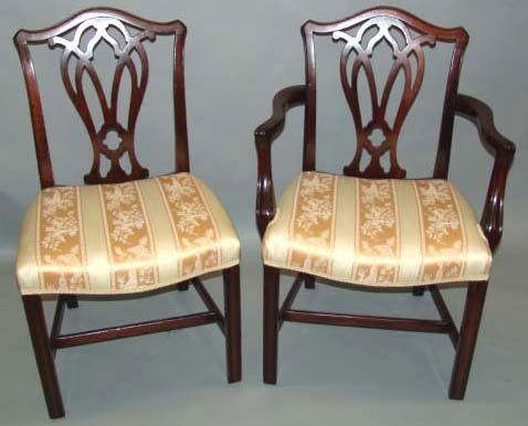1008: (8) 19TH C CHIPPENDALE-STYLE MAHOGANY CHAIRS