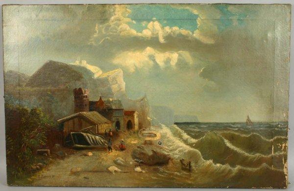 1010: EDWARD C. BARNES, SEASCAPE AFTER STORM, O/C