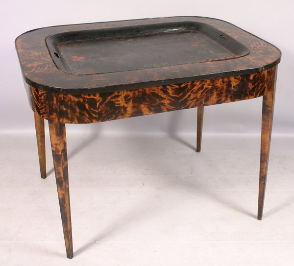 1024: CONTINENTAL BURLWOOD TABLE & TOLE TRAY