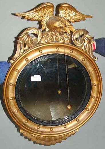 2021: 19TH CENTURY CARVED GILTWOOD CONVEX MIRROR