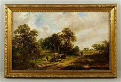 Attr Meadows Rural Scene Oil on Canvas