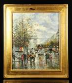 Blanchard Paris Street Scene Oil on Canvas