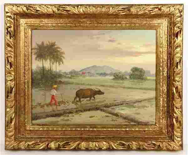 Lopez, Farm Scene, Oil on Canvas
