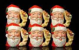 Set of 6 Royal Doulton Santa Claus Toby Jugs