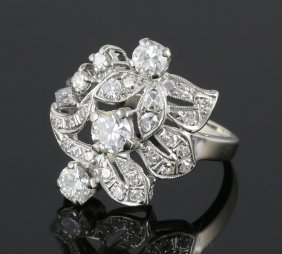 Ladies 14k White Gold And Diamond Ring