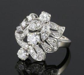 Ladies 14k White Gold And Diamond Ring