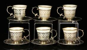 Set of Six Lenox Demitasse Cups and Saucers