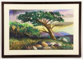 "Anguiano, ""big Bear, California,"" Watercolor"