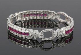 Ladies' Ruby And Diamond Bracelet