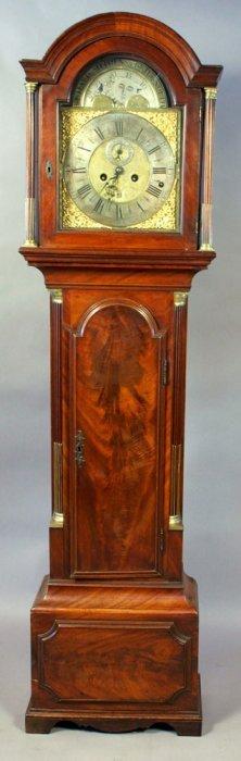 18th C. English Mahogany Tall Case Clock