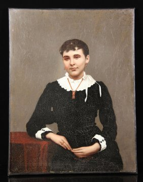 19th C. Chinese Export Portrait, Oil On Canvas