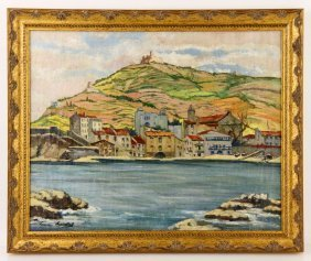 """Hourtal, """"cote D'azur,"""" Oil On Canvas"""