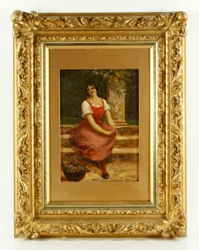 Mancini, Girl On Steps, Oil On Board