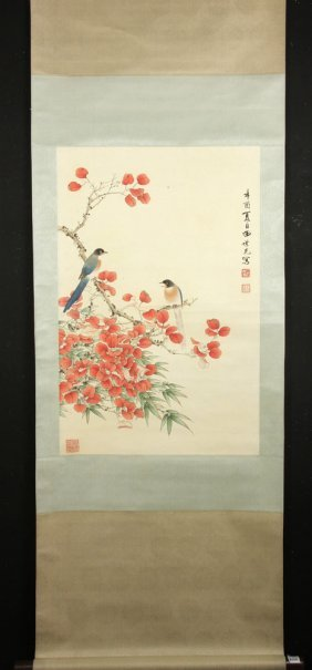 Chinese Scroll Painting, Watercolor