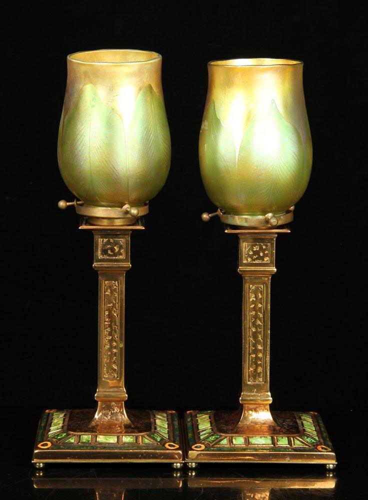 Pr. Tiffany Furnaces Inc. Candlestick Lamps