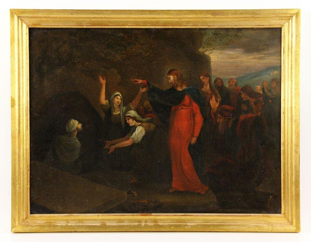 17th-18th C. Christ Raising Lazarus, Oil