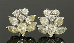 "Pr. Platinum Diamond ""Floral"" Earrings"