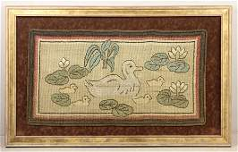 Arts and Crafts Period Framed Rug of Ducks