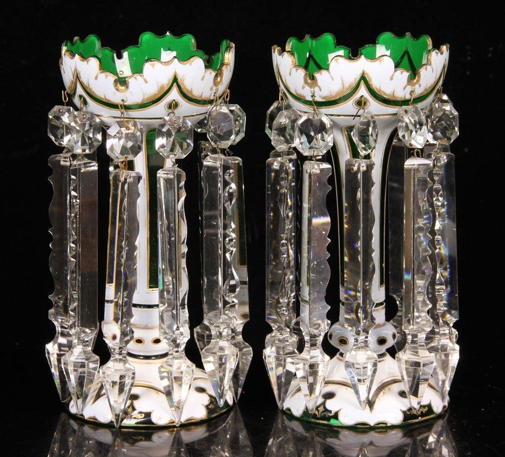 Pr. 19th C. Bohemian Overlay Cut Glass Vases