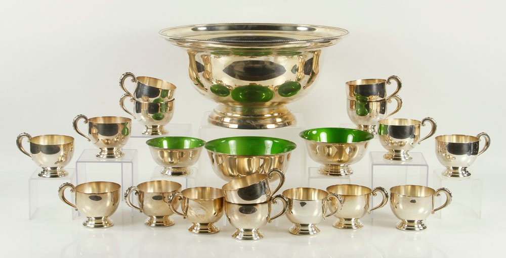 Silver Plate Punch Bowl Set