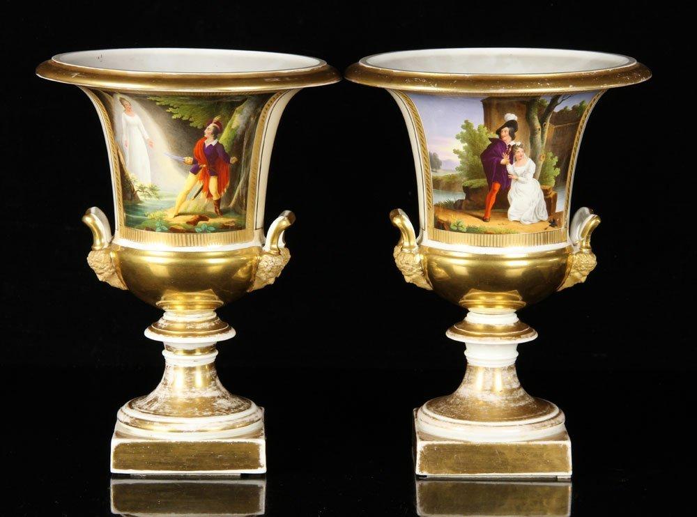 Pr. 19th C. Paris Porcelain Urns