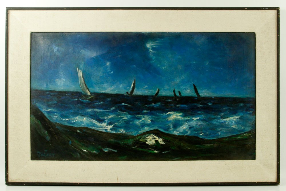 Mattson, Sailboats off the Coast, Oil on Canvas
