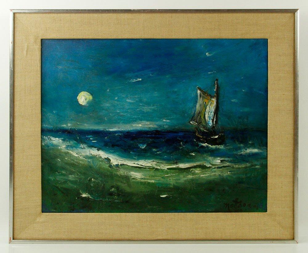 Mattson, Sailboat in Moonlight, Oil on Canvas