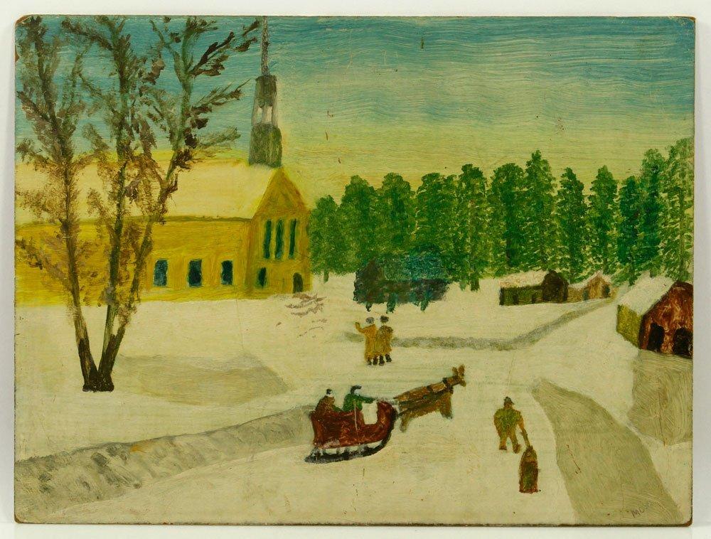 Winter Scene with Church, Oil on Board