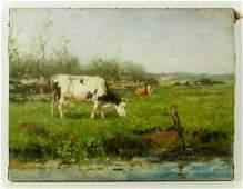 Scherrewitz Landscape with Cows Oil on Canvas
