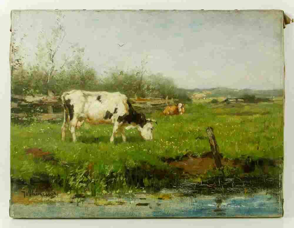 Scherrewitz, Landscape with Cows, Oil on Canvas