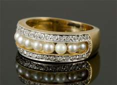 14K Gold Diamond and Pearl Ring