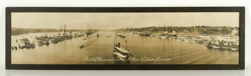 Panoramic View of Ships in River, Toned Photograph