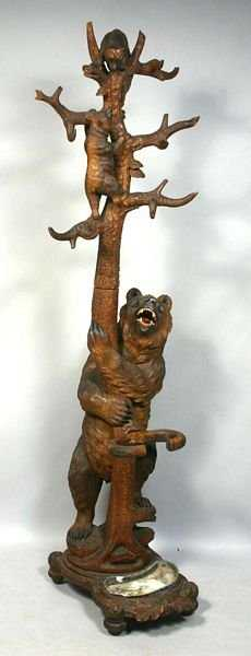 7 C1860 Black Forest Carved Bears Coat Rack