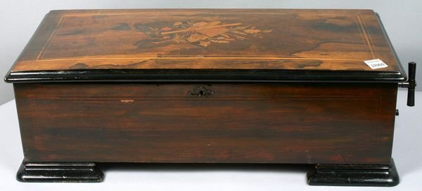 14: 19TH C. ROSEWOOD MUSIC BOX, MARQUETRY INLAY
