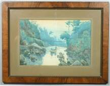 59: SIGNED O. MORIAI, RIVER LANDSCAPE, W/C, 1908