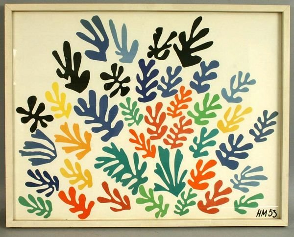 341: SIGNED 20TH CENTURY ABSTRACT BLOCK PRINT