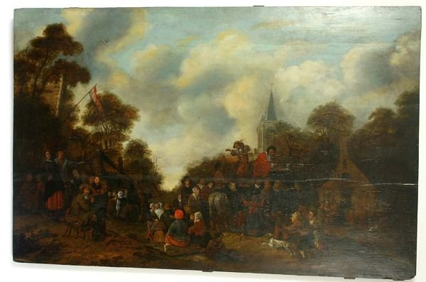 1003: 18TH C. DUTCH SCHOOL GENRE OIL ON BOARD