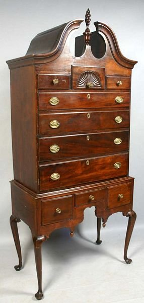 1005: 18TH C. QUEEN ANNE BONNET-TOP MAPLE HIGHBOY