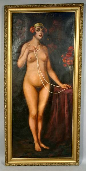 1006: 19TH C. AUSTRIAN NUDE FULL LENGTH PORTRAIT O/C