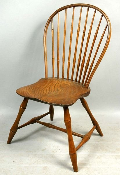 1007: 18TH/19TH C. SIGNED E.B. TRACY WINDSOR CHAIR