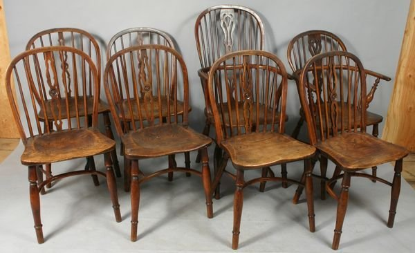 1008: SET OF (8) MID 19TH C. ENGLISH YEWWOOD CHAIRS