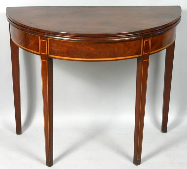 1015: 19TH C. HEPPLEWHITE DEMILUNE CARD TABLE