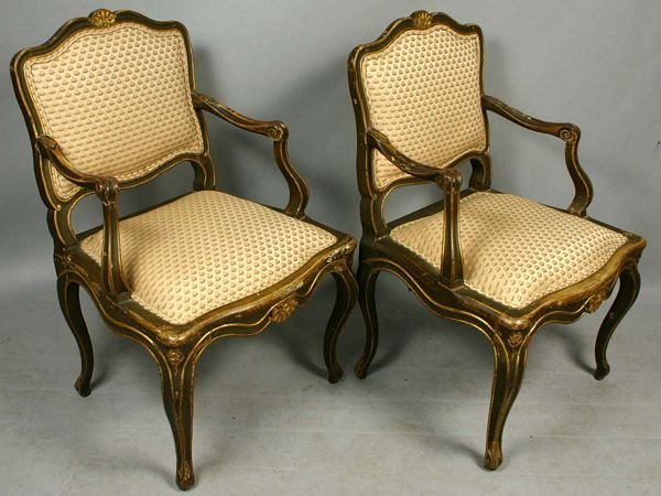 1016: PAIR OF 20TH C. LOUIS XV-STYLE GILT ARM CHAIRS