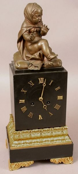 1017: 19TH C. FRENCH BRONZE & ORMOLU MANTEL CLOCK