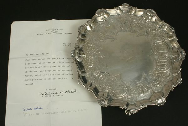 1022: 18TH C. ENGLISH SILVER FOOTED SALVER, E. COKER